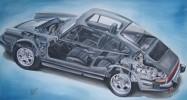 Porsche, Blau, Motor, Schwarz weiß