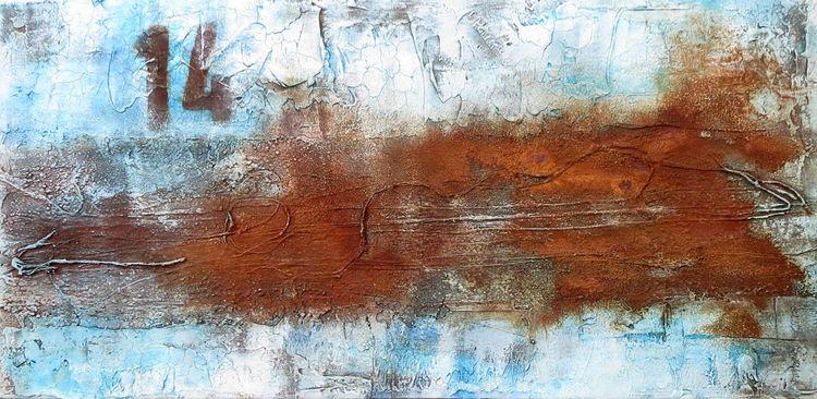 Weiß, Aquarellmalerei, Kordel, Acrylmalerei, Zahlen, Rostig