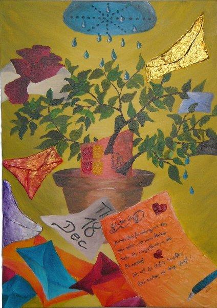 Surreal, Briefumschlag, Herz, Bewässerung, Orange, Acrylmalerei