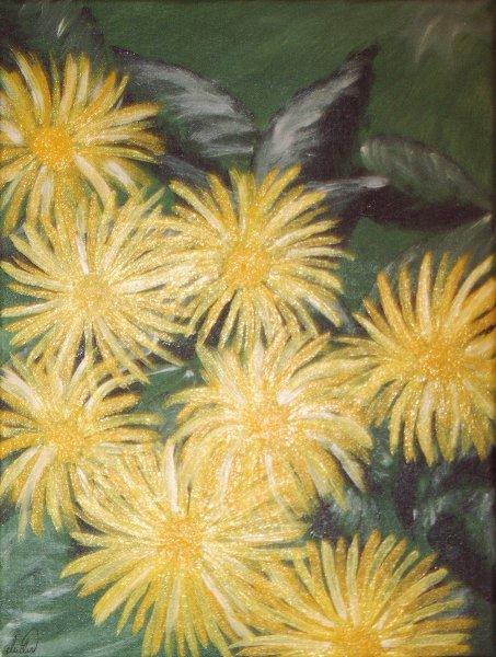 Blumen, Konkret, Gelb, Grün, Konkrte, Acrylmalerei
