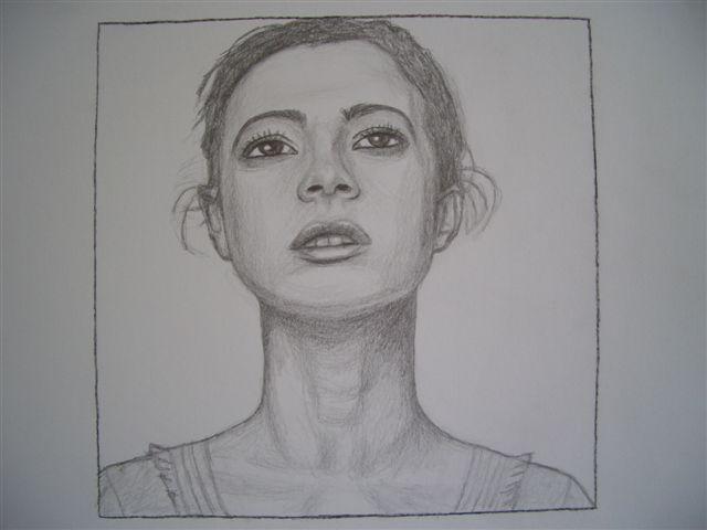 Ferne, Hals, Zeichnung, Frau, Blick, Oben