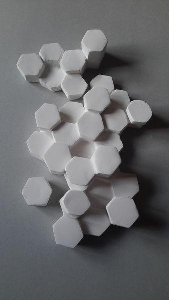 Weiß, Sechseckig, Gips, Wabe, Plastik, Skulptur