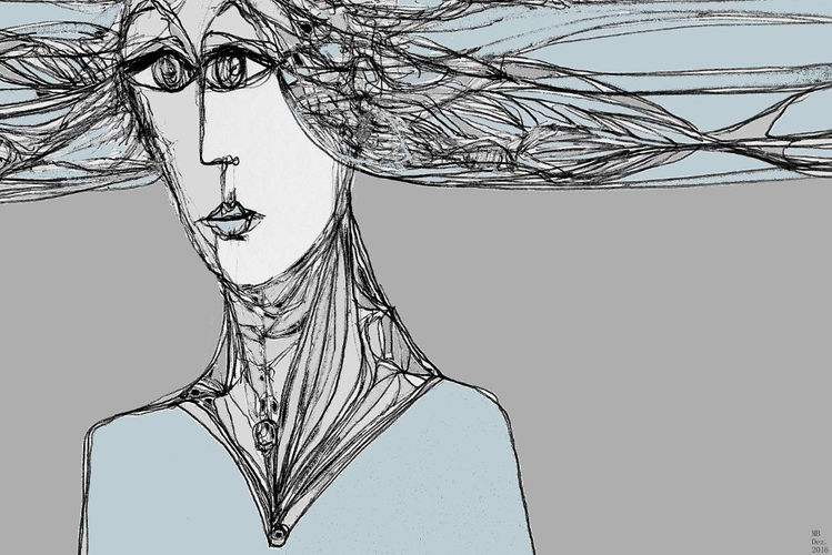 Blau, Gesicht, Netz, Frau, Grau, Fische