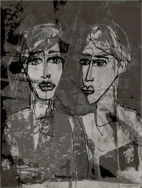 Ausdruck, Paar, Gesicht, Mischtechnik