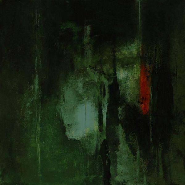 Grün, Rot, Surreal, Gesicht, Malerei
