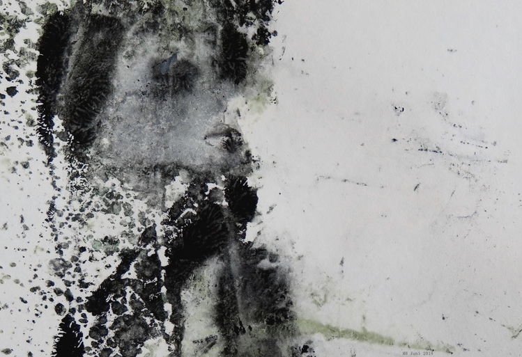 Mädchen, Winter, Grau, Schwarz weiß, Malerei