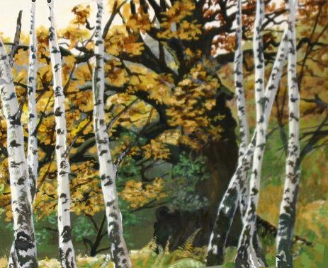 Landschaft, Wald, Natur, Malerei, Birken, Rinde