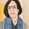 Portrait, Dame, Blaue brille, Malerei