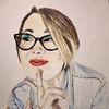 Mädchen, Verschmitzt, Brille, Malerei