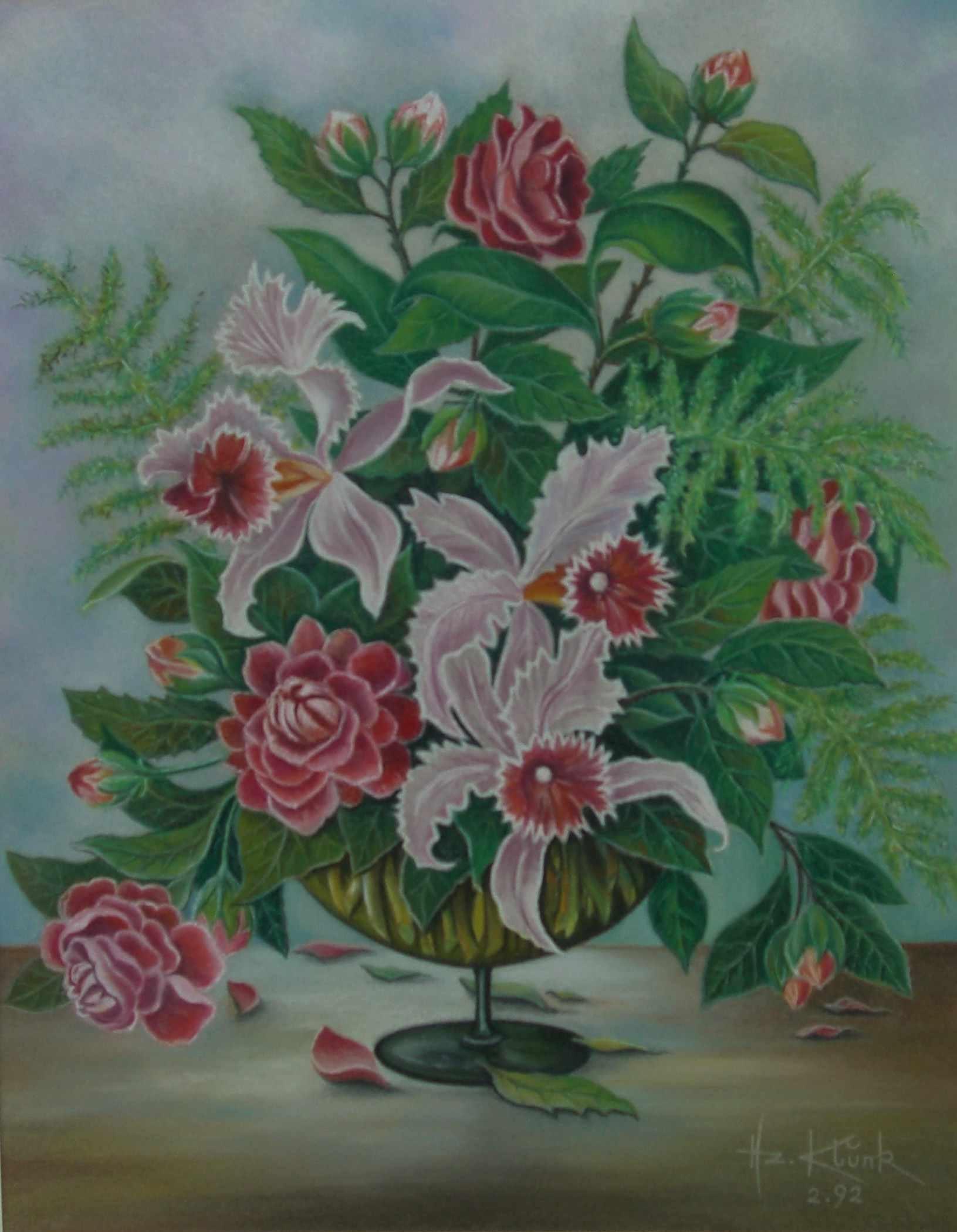 bild orchideen blumen malerei stillleben von heinz. Black Bedroom Furniture Sets. Home Design Ideas