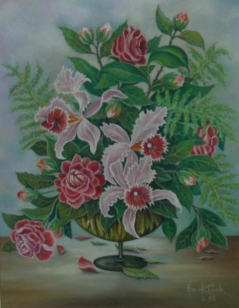 Stillleben, Orchidee, Pastellmalerei, Blumen, Malerei