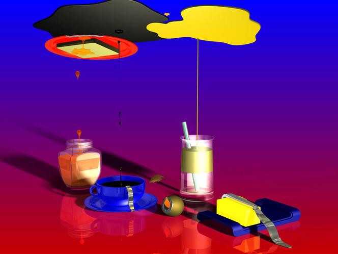 Tasse, Glas, Blau, Messer, Orangensaft, Rot