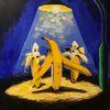 Banane, Exhibitionist, Nacht, Blau