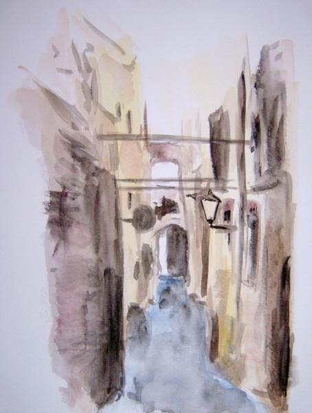 Landschaft, Haus, Malerei, Toskana, Gasse, Stadt