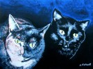 Blau, Katze, Malerei, Figural