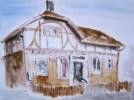 Haus, Fachwerk, Malerei, Kneipe