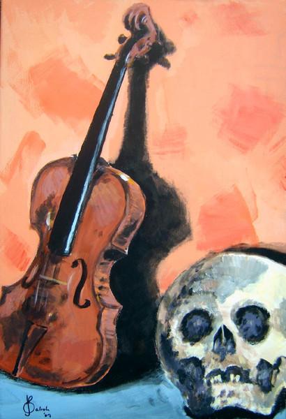Violine, Klassik, Musik, Geige, Schädel, Stillleben