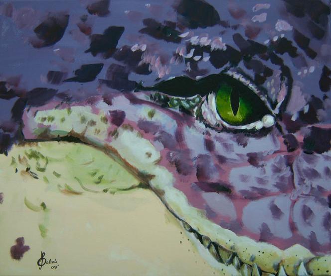 Augen, Beißen, Malerei, Bissig, Figural, Aligator
