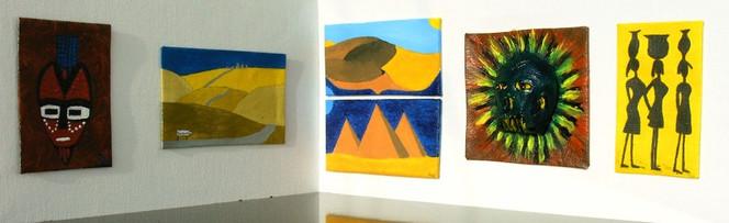 Timbuktu, Pyramide, Frau, Acrylmalerei, Totenmaske, Sand