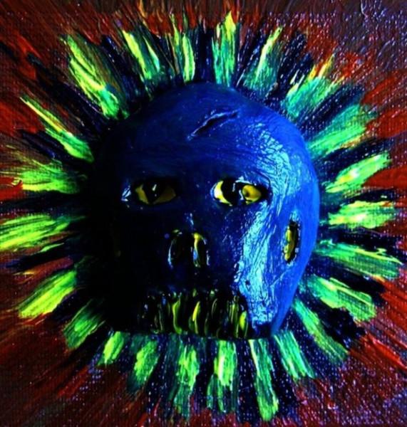 Rot, Grün, Berkacher, Gelb, Acrylmalerei, Kopf