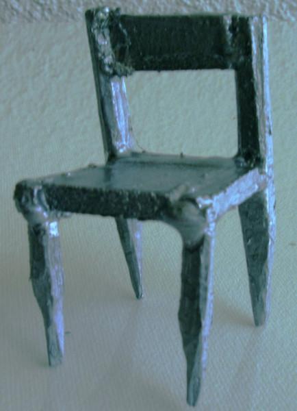 Silber, Kunsthandwerk, Modern, Stuhl, Skulptur, Rustikal