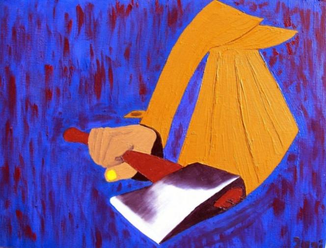 Blut, Ölmalerei, Blau, Geist, Comic, Axt