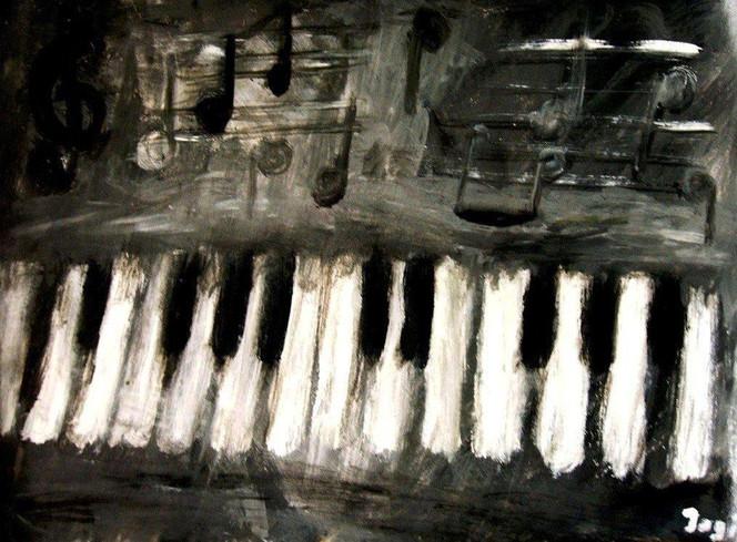 Trauer, Malerei, Musik, Schwarz weiß, Stimmung, Abstrakt