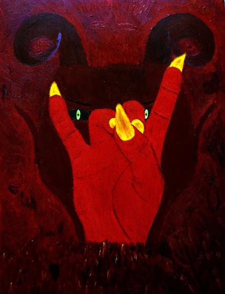 Rot, Hand, Gruß, Portrait, Rechts, Hölle