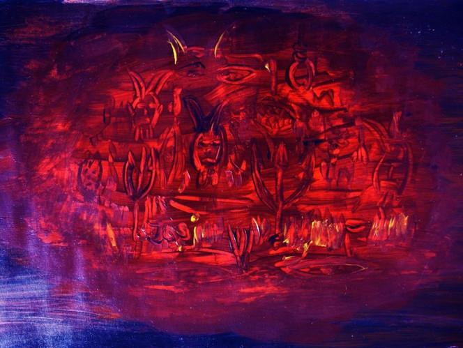 Rot, Acrylmalerei, Tod, Malerei, Fegefeuer, Hölle