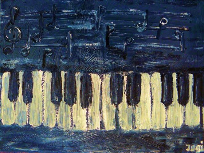 Grau, Horror, Ölmalerei, Klavier, Musik, Malerei