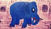 Elefant, Acrylmalerei, Tiere, Blau