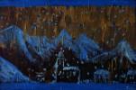Acrylmalerei, Winter, Berge, Dorf
