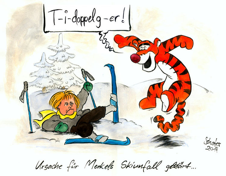 Ski, Karikatur, Cartoon, Angela merkel, Winter, Zeichnungen