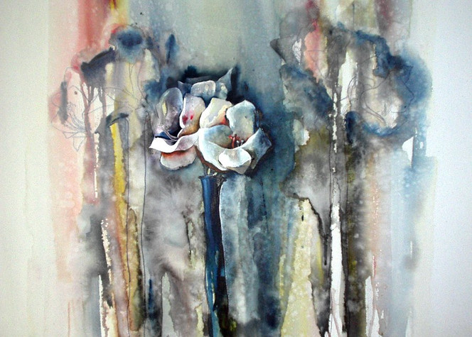 Acrylmalerei, Blumen, Malerei, Stillleben, Amaryllis