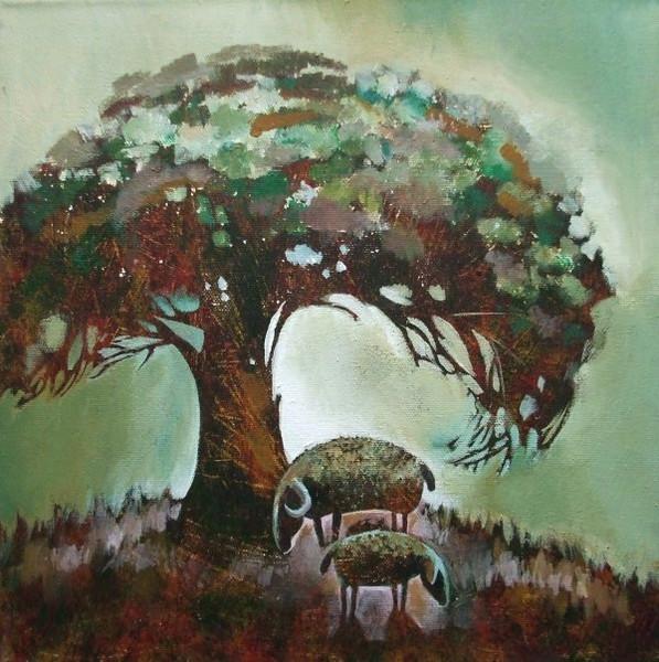 Schaf, Baum, Malerei