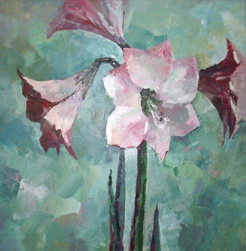 Malerei, Blumen, Stillleben, Acrylmalerei, Amaryllis