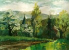 Aprilimpression - kirche landschaft baum grün realistisch natur
