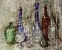 Flaschen - aquarell stilleben flasche glas realistisch wein