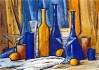 Festliches Stilleben - stilleben flasche glas realistisch wein zitrone stoff noten fest