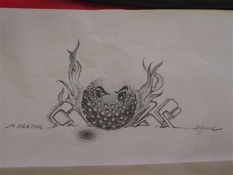 Zeichnung, Skizze, Bleistiftzeichnung, Zeichnungen, Golf,