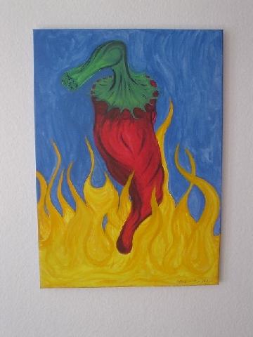 Acrylmalerei, Chilli, Pinsel, Malerei, Stillleben,