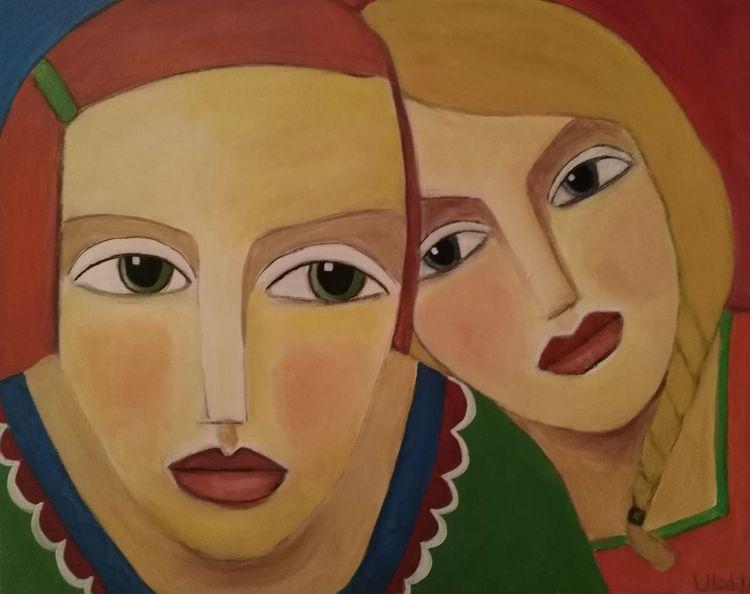 Nähe, Freundin, Bunt, Malerei