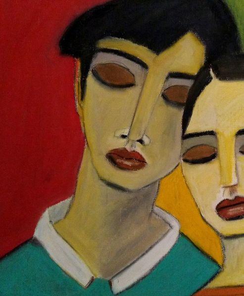 Frau, Traurig, Mann, Zeichnungen, Ausschnitt
