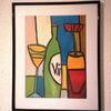 Glas, Flasche, Wein, Malerei