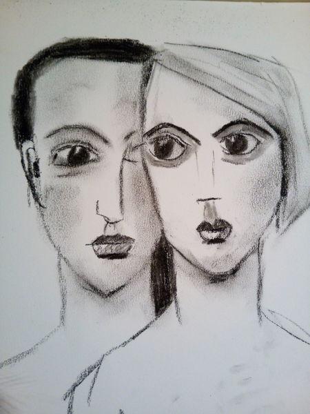 Frau, Mann, Kohlezeichnung, Paar, Zeichnungen