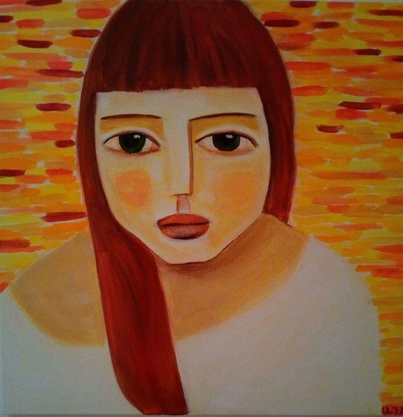 Bunt, Rot, Frau, Malerei, Liebe, Warten