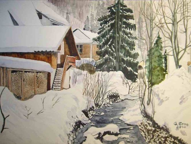 Bach, Winter, Schnee, Aquarell