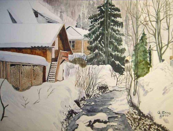 Winter, Schnee, Bach, Aquarell