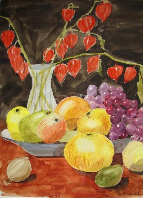 obst und ballonblumen  blumen malerei stillleben