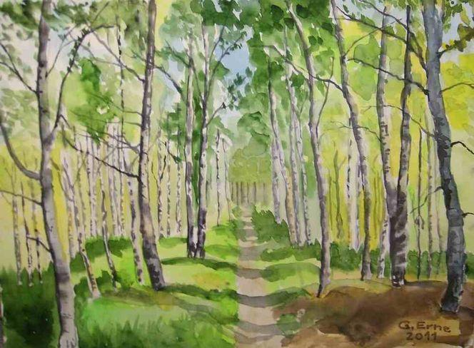 Frühling, Wald, Weg, Birken, Birkenwald, Aquarell